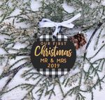 Our First Christmas as Mr. & Mrs. Ornament, Newlywed Buffalo Check Christmas Ornament