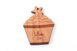 Cupcake Personalized Christmas Wooden Ornament