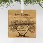 Custom Wood Family Tree Engraved Ornament, Engraved Family Christmas Wood Ornament