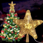 Star Lights Christmas Tree Toppers 1Pcs Led Light Ornaments For Christmas Holiday Decor