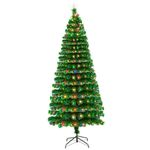 Fiber Optic Artificial Christmas Tree 7.5FT 260 Tips With 260 LEDs Lights For Christmas Holiday