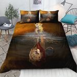 Lion King Reflection In Water Printed Bedding Set Bedroom Decor