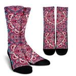 Pink Teal Bohemian Mandala Pattern Print Unisex Crew Socks
