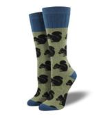 Outlands Squirrel (Green) Women's Boot Sock Funny Cute Unique Socks