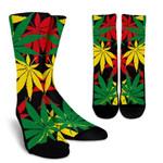 Classic Hemp Leaves Reggae Pattern Print Unisex Crew Socks