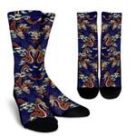 Orange Japanese Dragon Pattern Print Unisex Crew Socks