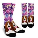 Basset Hound Dog Portrait Watercolor Flowers Printed Crew Socks