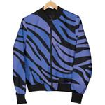 Black Blue Zebra Pattern  3D Printed Unisex Jacket