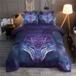 Chrome Wolf Purple Space Bedding Set Bedroom Decor