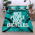 Nice People Ride Bicycles Printed Bedding Set Bedroom Decor
