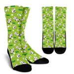 Cartoon Daisy And Cow Pattern Print Unisex Crew Socks