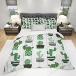 Green Cactus Art Printed Bedding Set Bedroom Decor