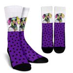 Collage Pup Dachshund Black Triangle Dots  Printed Crew Socks