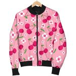 Pink Cherry And Floral Pattern 3D Printed Unisex Jacket