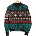 Teal And Brown Aztec Pattern 3D Printed Unisex Jacket