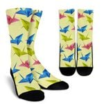 Colorful Origami Crane Green Printed Crew Socks