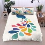 Awesome Peacock Color Printed Bedding Set Bedroom Decor