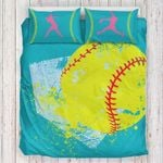 Yellow Softball Printed Bedding Set Bedroom Decor