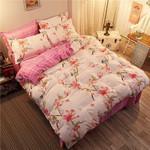 Bird Pink Printed Bedding Set Bedroom Decor