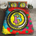 Bitcoin Color Yellow Circle Outline Printed Bedding Set Bedroom Decor