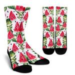 White Tropical Watermelon Pattern Print Unisex Crew Socks