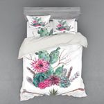 Cactus With Pink Flower Printed Bedding Set Bedroom Decor