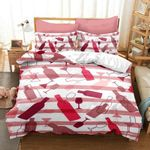Wine Pink And White Stripes Printed Bedding Set Bedroom Decor