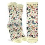 Colorful Floral Dachshunds Art Painting Printed Crew Socks