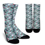Scottish Terrier Flower  Printed Crew Socks