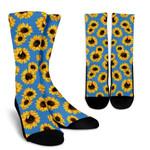 Blue Sunflower Pattern Print Unisex Crew Socks