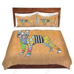 Boston Terrier Pattern Orange Background Printed Bedding Set Bedroom Decor