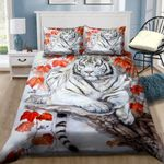 White Tiger Autumn 3D Bedding Set Bedroom Decor