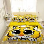 Yellow Hurt Cat  Printed Bedding Set Bedroom Decor