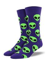 We Come In Peace, Alien (Purple) Men's Crew Sock Funny Cute Unique Socks