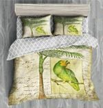 Green Parrot Letter Printed Bedding Set Bedroom Decor