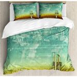 Single Trumpet Green Background Bedding Set Bedroom Decor