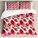 Red Poppy Flowers 3D Bedding Set Bedroom Decor
