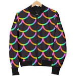 Neon Black Mermaid Scales Pattern 3D Printed Unisex Jacket
