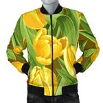 Tulip Yellow Pattern With Green Leaf 3D Printed Unisex Jacket