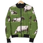 Cow On Green Grass Pattern 3D Printed Unisex Jacket