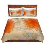 Geometric Orange Flowers Printed Bedding Set Bedroom Decor