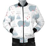 Cute Rhino Heart Pattern 3D Printed Unisex Jacket