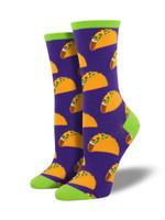 Tacos (Purple) Women's Crew Sock Funny Cute Unique Socks