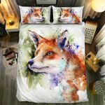 Red Fox Watercolor Nature Bedding Set Bedroom Decor