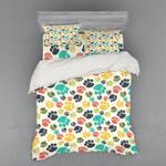 Colorful Dog Paw Printed Bedding Set Bedroom Decor
