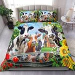 Happy Cow Family Sunflower Printed Bedding Set Bedroom Decor