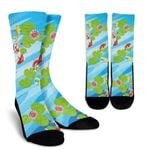 Koi Water Garden Blue And White Camo  Printed Crew Socks