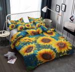 Sunflower Garden Blue Background Bedding Set Bedroom Decor