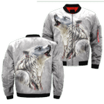 The White Wolf Native American White 3D Printed Unisex Bomber Jacket