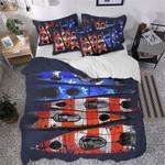 Kayaking Orange And Blue Pattern Printed Bedding Set Bedroom Decor